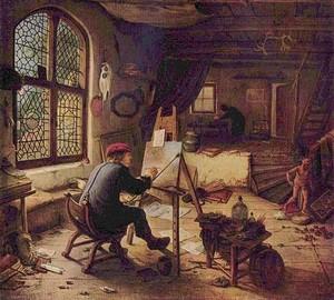 """""""Ein Künstler in einer Werkstatt"""", Adrian van Ostade – Beschreibung des Gemäldes"""