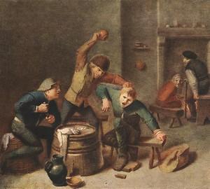 Kampf der Bauern beim Kartenspiel, Adrian Brower