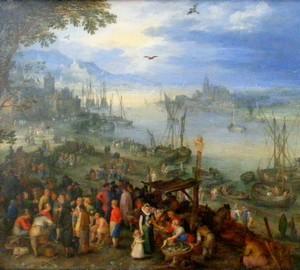 """Fischmarkt am Flussufer"", Jan Brueghel der Ältere – Beschreibung des Gemäldes"