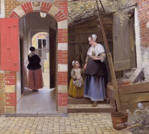 """Hof in Delft"", Peter de Hoch – Beschreibung des Gemäldes"