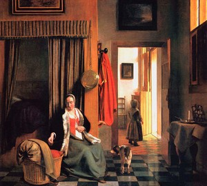 """""""Mutter an der Wiege"""", Peter de Hoch – Beschreibung des Gemäldes"""