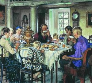 """""""Neue Besitzer. Tea Party """", Bogdanov-Belsky – Beschreibung des Gemäldes"""
