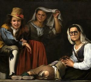 """""""Vier Figuren auf einer Stufe"""", Murillo – Beschreibung des Gemäldes"""