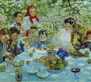 """""""Lehrergeburtstag"""", Bogdanov-Belsky – Beschreibung des Gemäldes"""