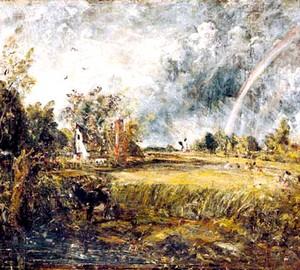Haus, Regenbogen, Mühle, John Constable