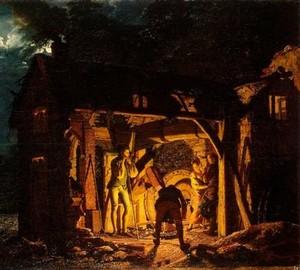"""""""Schmiede. Außenansicht, Joseph Wright – Beschreibung des Gemäldes"""