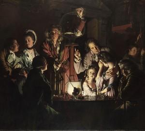 """""""Ein Experiment mit einem Vogel in einer Luftpumpe"""", Joseph Wright – Beschreibung des Gemäldes"""