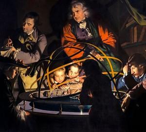"""""""Der Philosoph erklärt das Modell des Sonnensystems"""", Joseph Wright – Beschreibung des Gemäldes"""
