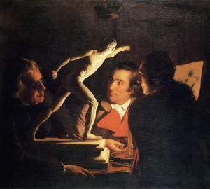 """""""Drei Personen untersuchen einen Gladiator bei Kerzenschein"""", Joseph Wright – Beschreibung des Gemäldes"""