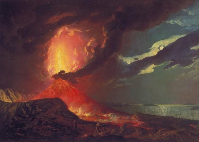 Der Ausbruch des Vesuv über den Inseln im Golf von Neapel