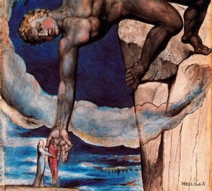 Antei lässt Dante und Virgil in den letzten Kreis der Hölle fallen, W. Blake