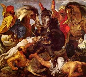 Krokodil- und Flusspferdjagd, Rubens – Beschreibung des Gemäldes