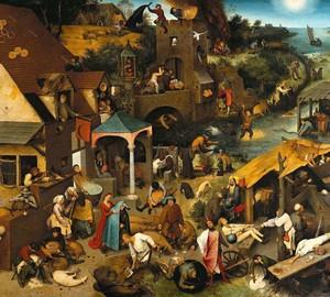 """""""Niederländische Sprichwörter"""", Peter Brueghel der Ältere – Beschreibung des Gemäldes"""