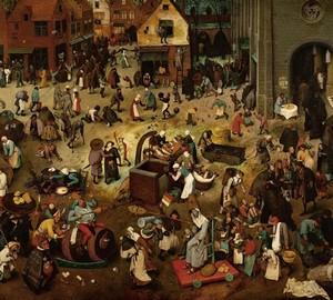"""Das Gemälde """"Schlacht von Fastnacht und Fastenzeit"""", Peter Brueghel der Ältere – Beschreibung"""